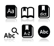 Dictionary book icons set royalty free illustration