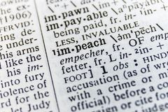 Dictionary Definition Close Up Of `Impeach` I Stock Photo