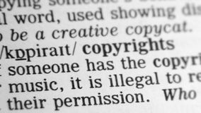 Dictionary Definition - Copyright stock video footage