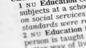 Dictionary Definition - Education stock video