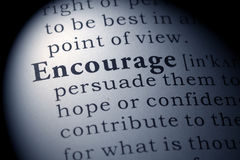Dictionary definition of encourage. Fake Dictionary, Dictionary definition of the word encourage royalty free stock photos