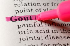 Dictionary definition of gout. Fake Dictionary, Dictionary definition of the word gout royalty free stock photography