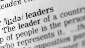 Dictionary Definition - Leader stock video footage