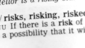 Dictionary Definition - Risk stock video