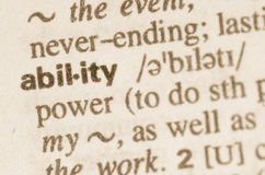 Dictionary definition of word ability Royalty Free Stock Photos