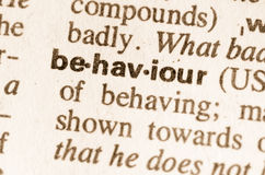 Dictionary definition of word behaviour Royalty Free Stock Photos