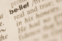 Dictionary definition of word belief Stock Photography
