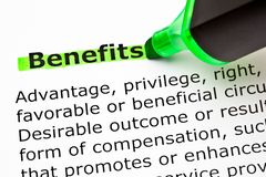 Dictionary Definition Of Word Benefits stock photos