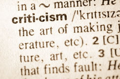 Dictionary definition of word criticism Stock Image