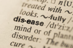 Dictionary definition of word disease Royalty Free Stock Photo