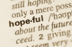 Dictionary definition of word hopeful. Definition of word hopeful in dictionary Royalty Free Stock Photography