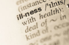 Dictionary definition of word illness Royalty Free Stock Images