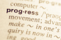 Dictionary definition of word progress. Definition of word progress in dictionary Stock Photo