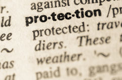 Dictionary definition of word protection Royalty Free Stock Image