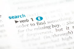 Dictionary definition of the word search. Search under the heading Focus definition from the dictionary Stock Photo