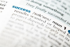 Dictionary definition of the word success Stock Image