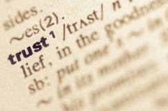 Dictionary definition of word trust Stock Photography