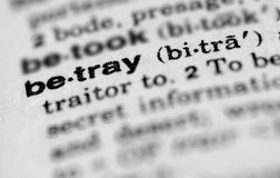 Dictionary entry for betray. Dictionary entry for word betray Royalty Free Stock Photos