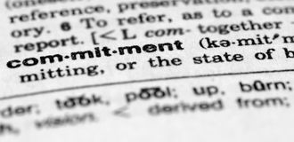 Dictionary entry for commitment. Dictionary entry for word commitment Stock Image