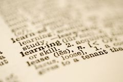 Dictionary entry for learning. Stock Photos