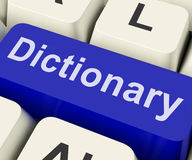 Dictionary Key Shows Online Or Web Definition Reference Stock Image
