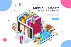 Dictionary library encyclopedia web archive. Dictionary, library of encyclopedia or web archive. Technology and literature, digital culture on media library stock illustration