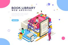 Dictionary library icon encyclopedia web archive. Dictionary, library of encyclopedia or web archive. Technology and literature, digital culture on media library stock illustration
