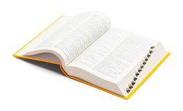 Dictionary Open. Open Yellow Dictionary Book Isolated on White Background stock photos