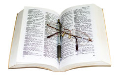 Dictionary, pen and Glasses 3 Royalty Free Stock Image