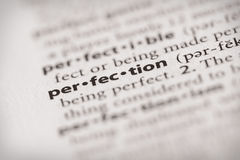 Dictionary Series - Attributes: perfection. Selective focus on the word perfection. Many more word photos in my portfolio Royalty Free Stock Image