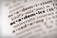 Dictionary Series - Information: academics. Selective focus on the word academics stock image