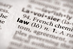 Dictionary Series - Law. Selective focus on the word law. Many more word photos for you in my portfolio Royalty Free Stock Image