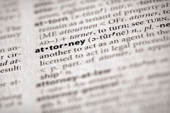 Dictionary Series - Law: attorney. Selective focus on the word attorney. Many more word photos for you in my portfolio royalty free stock photography