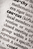 Dictionary Series - Politics: caucus. Selective focus on the word caucus. Many more word photos for you in my portfolio Royalty Free Stock Photography