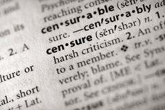 Dictionary Series - Politics: censure. Selective focus on the word censure. Need more words? Have a look in my portfolio Royalty Free Stock Image