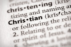 Dictionary Series - Religion: Christian. Selective focus on the word Christian. Many more word photos in my portfolio royalty free stock image