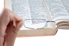 The dictionary and spectacles Royalty Free Stock Photo