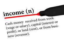 Dictionary term of income isolated on white background Royalty Free Stock Images