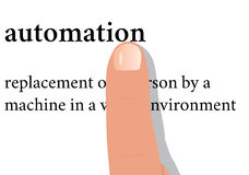 Dictionary word of automation with a finger on it Stock Photo