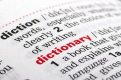 Dictionary word from a free dictionary, close up Royalty Free Stock Photos