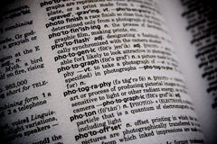 Dictionary Word Photograph. Closeup of the word photograph and photography in the dictionary Stock Image