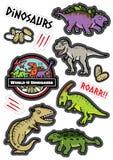 Dicut de la etiqueta engomada del diseño de caracteres de los dinosaurios stock de ilustración