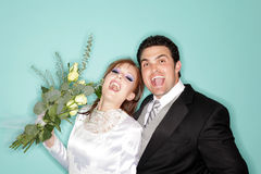 We did it!. Excited young couple that just got married Royalty Free Stock Photo