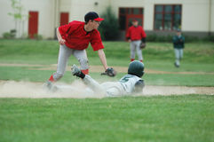 Did I Make the Tag. Third baseman looking to see if the runner is out Stock Photo