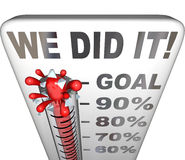 We Did It Thermometer Goal Reached 100 Percent Tally. We Did It words on thermometer tallying 100 percent goal attained and reached for a fundraiser, personal Stock Images