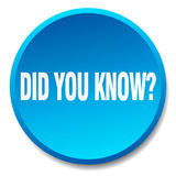 Did you know blue round button. Did you know blue round flat isolated push button Stock Photography