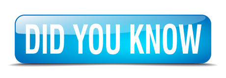 Did you know blue square 3d realistic  web button. Did you know blue square 3d realistic isolated web button Stock Photos