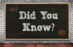 DID YOU KNOW?. On brick wall and chalkboard background Stock Photography