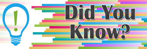 Did You Know Colorful Lines Horizontal. Did you know concept image with text and bulb symbol Stock Images