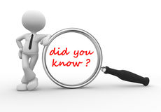 Did you know?. 3d people - man, person with magnifying glass and text did you know Stock Image